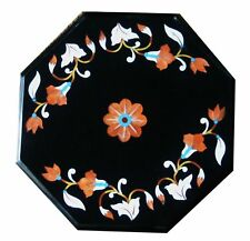 """12"""" x 12"""" black Marble Table top pietra dura Home Decorative and gifts"""