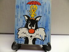 """Tweety And Sylvester"" Hand Painted On Tile With Easel By Artist W. W. Hoffert"