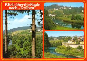 """AK, Saaletal, Blick über die Saale nach """"Drüben"""", drei Abb., um 1980"""