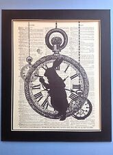 Alice In Wonderland Rabbit Silhouette Pocket Watch Antique Dictionary Page #48