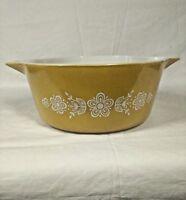 Vintage Pyrex 475 B Golden Butterfly Gold 2 1/2 Qt Cinderella Casserole Dish