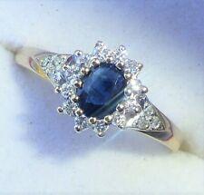 9ct Gold Sapphire & Diamond Halo Ring, Size L1/2