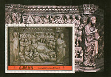 "Ajman 1972 ""Nativity"" Bas-Relief No Pisan Pulpit Siena Cathedral Sheet CTO"