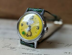 Boys Gents Retro 1977 Timex Snoopy Mystery Ball Yellow Stainless Watch - Working