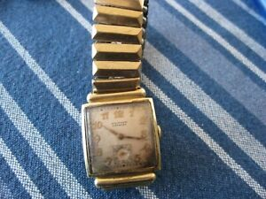 Genuine 14K GOLD  Vintage WALTHAM PREMIER Men's MANUAL WIND WATCH  Not working