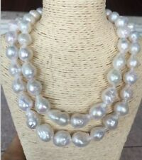 35 inch Baroque 16X13mm natural  south seas white  pearl necklace  14K clasp