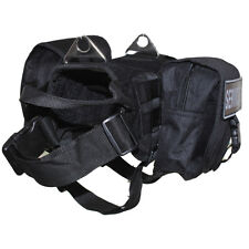Tactical K9 Velcro Patch Military SERVICE DOG Vest Harness & BACKPACK Side Bags