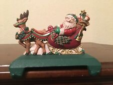 Midwest Cast Iron Santa Sleigh Reindeer Double Christmas Stocking Holder Hanger