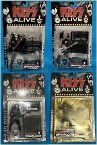 KISS ALIVE SET OF 4 FIGURES Gene Simmons Ace Frehley McFarlane Toys 2001 Rare