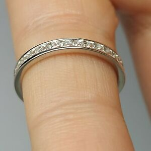 Solid sterling silver 925 Aw32 ring size full eternity engagement womens CZ