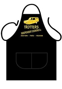 MEN'S/WOMEN'S BLACK NOVELTY APRON,KITCHEN OR BBQ, TROTTERS VAN ONLY FOOLS STYLE
