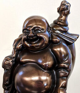 Laughing Bronze Colour Fat Lucky Buddha Money Sack Gift Ornament Figurine Statue