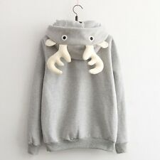 Autumn New Cute Girl's Deer Horn Pattern Fleece Sweater Grey Hoodie With Zipper