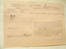 marine  CONNAISSEMENT DE 1895 AUGIER COGNAC par HARRISSON   pour Liverpool