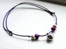 Boho Bell Anklet Purple Cord Beaded with Silver Jingle Bell Ankle Bracelet