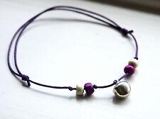 Boho Bell Tobillera Púrpura Cuerda con Cuentas Con Plata Jingle Bell Pulsera de tobillo