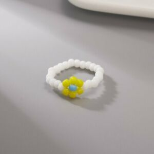 Boho Small Flower Summer Colorful Beads Ring Adjustable Women Party Jewelry Gift