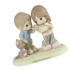 Precious Moments 193011 I Wuff You So Much Couple with Puppies Bisque Porcela.