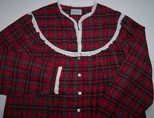 NWT Lanz of Salzburg Classic RED PLAID Tyrolean Flannel Nightgown M EYELET LACE