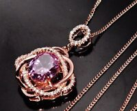 9ct Rose Gold on Silver Pink & White Topaz Large Cluster Pendant & Chain