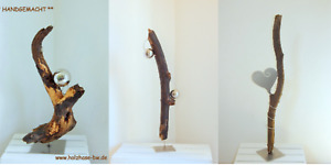 Skulpturen versch.Schwemmholz Edelstahl Stele Kunstobjekt Deko abstrakt modern