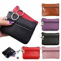 Men Women Soft Genuine Leather Card Holder Coin Purse Key Zip Wallet Pouch Bag