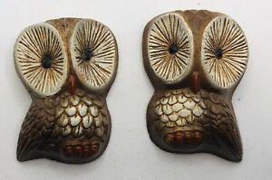 """Vintage Faux Wood Pair Of 3.75""""Owl Wall Hangings Mid Century MUST SEE NICE"""