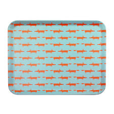 Scion Mr Fox Bamboo Tray, Blue Serving Tea Party Lunch Cute Animal Print Modern