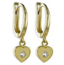ECHT GOLD *** Kleine Herz Zirkonia Ohrhänger Creole Ohrringe 18 mm