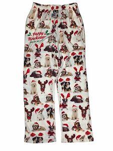 BRIEF INSANITY Happy Howlidays Santa Hat Dog Puppy Christmas Lounge Sleep Pants