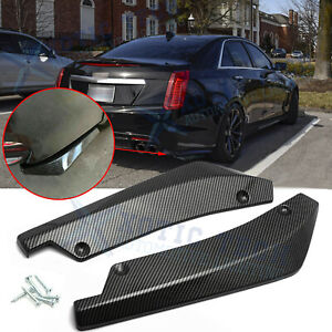 Carbon Fiber Rear Bumper JDM Fin Canard Splitter Lips For Cadillac Escalade CTS