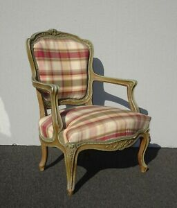Vintage French Country Ethan Allen Style Low Profile Plaid Accent Chair