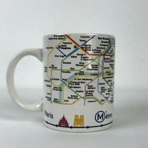 Vintage Paris Subway Metro Transit Map Coffee Mug Ceramic 12oz