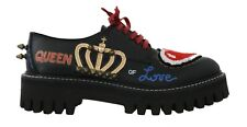 NEW $1240 DOLCE & GABBANA Shoes Black Leather QUEEN OF LOVE Broques EU38 / US7.5