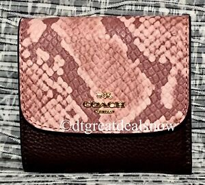 NEW COACH F25938 LEATHER SNAKE EMBOSSED MIX SMALL WALLET CLUTCH OXBLOOD MULTI
