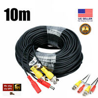 33FT Home Security Camera Video Power Cable BNC Wire Cord For DVR CCTV System