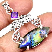 Labradorite & Amethyst 925 Sterling Silver Pentant Jewelry PP24530