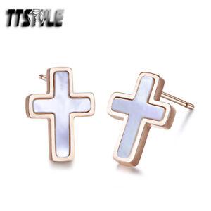 TTstyle 9K Rose Gold Stainless Steel Pearl Cross Stud Earrings A Pair