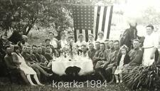 "PATRIOTIC WW1 REAL PHOTO 6"" x 8"" FRAMED SOLDIERS PICNIC NEW ENGLAND VILLAGE"