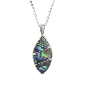 TJ147 Tide Jewellery Inlaid Paua Shell Zigzag Oval Necklace