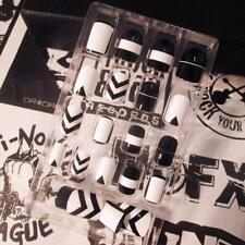 24pcs/Set Beauty Black + White False Nails Acrylic Full Tips Nail Stickers Tool