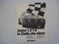 advertising Pubblicità 1972 ALFA ROMEO GIULIA GT JUNIOR