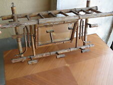 Ancien miroir et patères de bistrot en bambou des années 1950 vintage