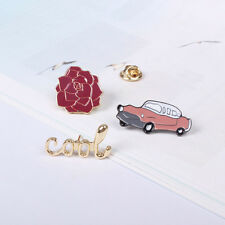 a Classic Vintage Car Red Rose Cool Letters Sweater Jean Shirt Collar Brooch Pin 3 Pcs Total