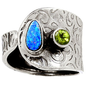 Australian Opal & Peridot 925 Sterling Silver Ring Jewelry s.8 BR76671 141K