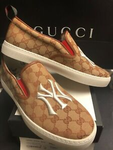 💎GUCCI GG NY YANKEES SLIP ON SNEAKERS GUCCI SIZE 11, US SIZE 12, 100% AUTHENTIC