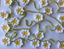 Crochet Daisy Flower Garland Bunting Approx 3 metres - 20 flowers (4.5 diameter)
