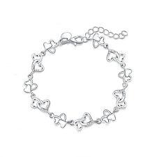 925 sterling Silver Plated Fashion heart wedding Woman crystal cute Bracelet