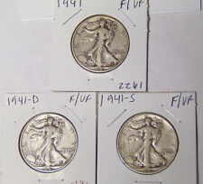 Year Set of 3 Walking Liberty Silver Half Dollars 1941 1941-D 1941-S F/VF