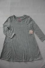 NEW Girls Knit Swing Dress Size Medium 7 - 8 Gray Striped A-Line Long Sleeve